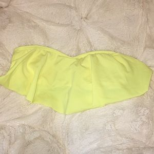 LA hearts neon yellow bathing suit top